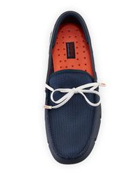 Swims Blue Mesh & Rubber Braided-lace Boat Shoe for men