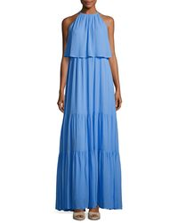 French Connection | Blue Midsummer Dream Halter Maxi Dress | Lyst