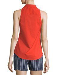 Laundry by Shelli Segal - Orange Sleeveless Button-front Poplin Top - Lyst
