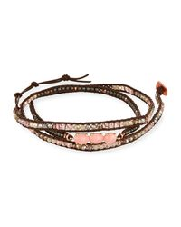 Nakamol - Pink Beaded Leather Wrap Bracelet - Lyst