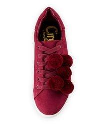 Circus by Sam Edelman - Red Carmela Micro-suede Pompom Sneaker - Lyst