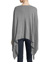 Neiman Marcus Gray Wool-blend Poncho Sweater