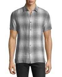 Vince - Gray Melrose Linen Plaid Short-sleeve Shirt for Men - Lyst