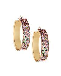 Romeo and Juliet Couture - Metallic Glitter Hoop Earrings - Lyst