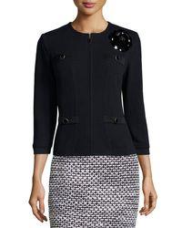 St. John | Black Santana Embellished Zip-front Jacket | Lyst