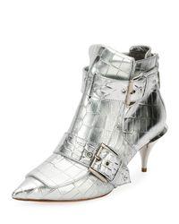 Alexander McQueen - Crocodile-embossed Metallic Bootie - Lyst