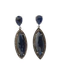 Bavna - Metallic Silver Marquise Drop Earrings With Blue Sapphire & Diamonds - Lyst