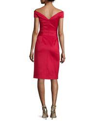 Black Halo - Red Off-the-shoulder Draped Stretch Satin Sheath Dress - Lyst