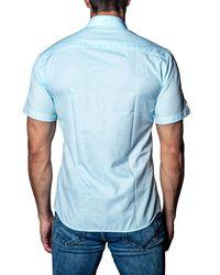 Jared Lang - Blue Tonal-print Short-sleeve Sport Shirt for Men - Lyst