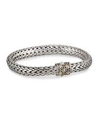 John Hardy | Metallic Dot Silver & 18k Gold Oval Bracelet | Lyst
