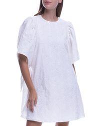 English Factory - White Shirred Sleeveless Cotton Eyelet Dress - Lyst