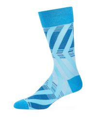 Bugatchi - Blue Men's Striped Cotton-blend Socks for Men - Lyst