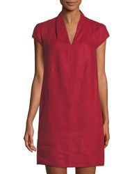 Neiman Marcus - Red Linen Cap-sleeve Sheath Dress - Lyst