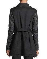 Laundry by Shelli Segal - Black Faux-leather Sleeve Wool Wrap Jacket - Lyst