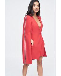 Lavish Alice - Red Tuxedo Cape Mini Dress With Sports Side Stripe - Lyst