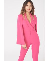 Lavish Alice - Signature Cape Blazer Jumpsuit In Bright Pink - Lyst