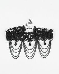 Le Chateau - Black Gem & Lace Choker Necklace - Lyst