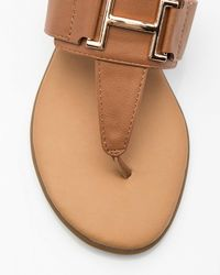 Le Chateau - Brown Metal-trim Thong Sandal - Lyst