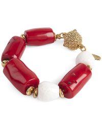 Oscar de la Renta - Red Semi-precious Bracelet - Lyst