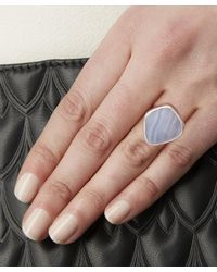 Monica Vinader - Metallic Sterling Silver Blue Lace Agate Siren Stacking Ring - Lyst