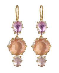Larkspur & Hawk - Metallic Gold-dipped White Quartz Caterina Three Drop Earrings - Lyst