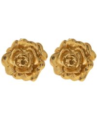 Alex Monroe | Metallic Gold-plated Rose Damasca Stud Earrings | Lyst