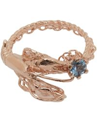 Alex Monroe | Multicolor Rose Gold-plated Lobster Aquamarine Ring | Lyst