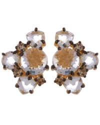 Suzanne Kalan | Metallic Gold Cluster Diamond Earrings | Lyst