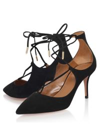 Aquazzura | Black Tango Suede Sandals | Lyst