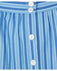 Miguelina - Blue Embroidered Laser Cut Carolina Maxi Skirt - Lyst