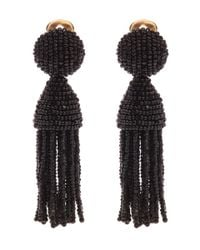 Oscar de la Renta | Black Two Tiered Short Tassel Earrings | Lyst