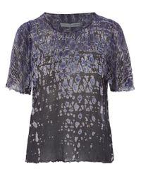 Raquel Allegra - Purple Petal Sleeve Silk Tie Dye Top - Lyst