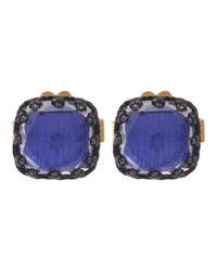 Larkspur & Hawk - Metallic Silver Small Jane Cobalt-toned White Topaz Post Earrings - Lyst