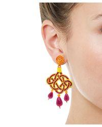 Anna E Alex - Orange Lamé Silk Passementerie Lanterna Stone Drop Earrings - Lyst