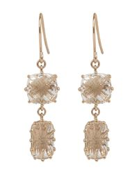 Suzanne Kalan - Multicolor Rose Gold White Topaz Cushion And Barrell Drop Earrings - Lyst