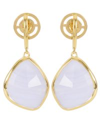 Monica Vinader - Metallic Gold-plated Blue Lace Agate Large Siren Nugget Drop Earrings - Lyst