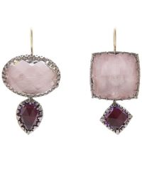 Larkspur & Hawk - Pink Silver Sadie Mis-matched Double Drop Earrings - Lyst