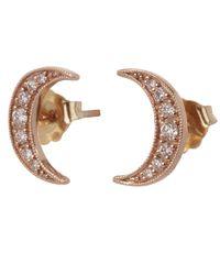 Andrea Fohrman - Multicolor Rose Gold Small Crescent Moon White Diamond Stud Earrings - Lyst