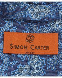 Simon Carter - Blue Vine Broken Paisley Print Tie for Men - Lyst
