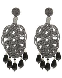 Anna E Alex | Multicolor Silk Passementarie Pearl And Black Agate Drop Earrings | Lyst
