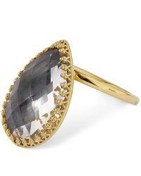 Larkspur & Hawk - Metallic 18ct Gold Sadie White Quartz Pear Ring - Lyst