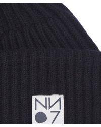NN07 Blue Ribbed Wool Beanie for men