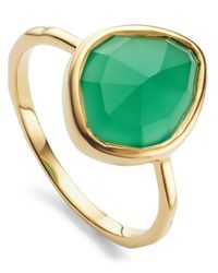 Monica Vinader - Metallic Gold Vermeil Siren Green Onyx Small Nugget Stacking Ring - Lyst