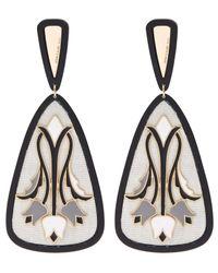 Anna E Alex - White Tulipani Enamel Flower Silk Earrings - Lyst