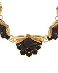 Oscar de la Renta - Black Painted Wild Lotus Necklace - Lyst