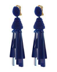 Oscar de la Renta - Blue Short Bead And Crystal Tassel Clip-on Earrings - Lyst