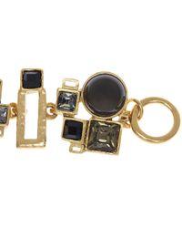 Oscar de la Renta - Metallic Geometric Crystal And Resin Bracelet - Lyst