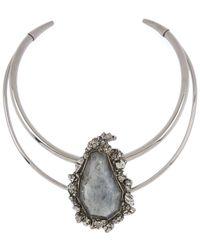 Alexander McQueen - Metallic Labradorite Double Band Choker Necklace - Lyst