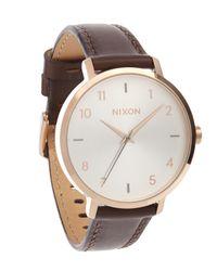 Nixon - Brown Arrow Leather Watch - Lyst