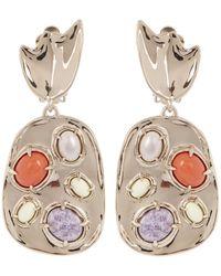 Alexis Bittar - Metallic Grey Pearl Sculptural Gemstone Cluster Clip Earrings - Lyst